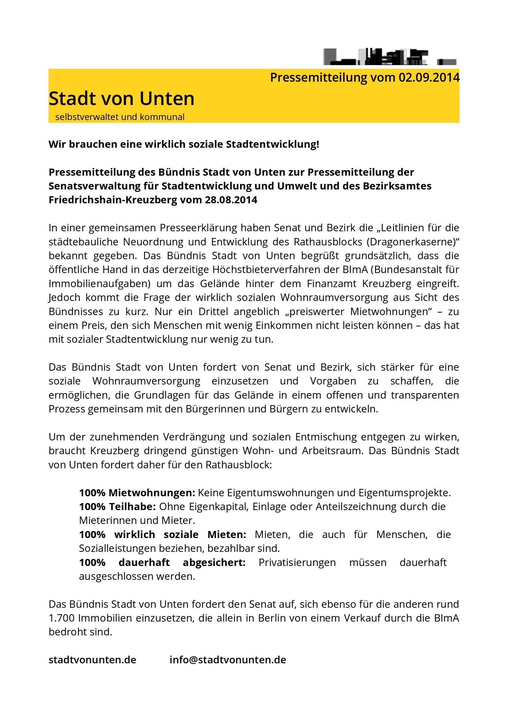 02.09.2014 Pressemitteilung Stadt von Unten